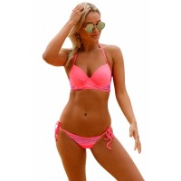 Striped Detail Bright Coral Bikini Swimsuit