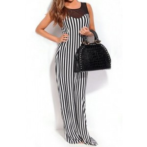 Striped Voile Spliced Fashionable Scoop Neck Sleeveless Maxi Dress For Women black