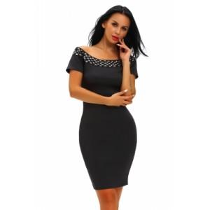 Studded Off Shoulder Black Short Sleeve Bodycon Dress