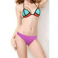 Stylish Halter Spliced Color Block Bikini Set For Women