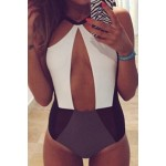 Stylish Hollow Out Color Block One-Piece Swimsuit For Women
