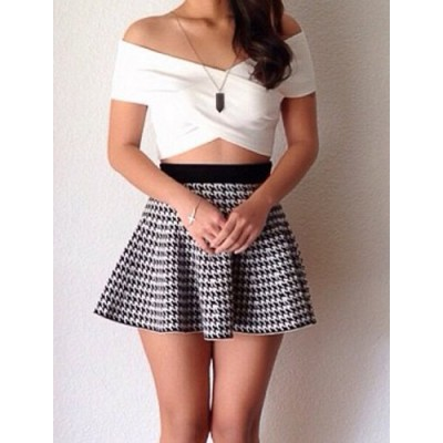 Stylish Off-The-Shoulder Short Sleeve Crop Top + Houndstooth Skirt Twinset For Women white