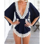 Stylish Plunging Neck 3/4 Sleeve Lace Embellished Romper For Women blue white
