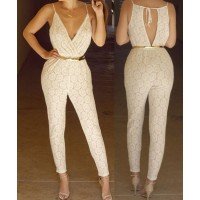 Stylish Plunging Neck Sleeveless Hollow Out Lace Jumpsuit For Women white