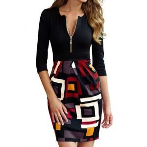 Stylish Round Neck 3/4 Sleeve Printed Spliced Dress For Women black