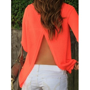 Stylish Round Neck 3/4 Sleeve Solid Color Furcal Knitwear For Women black orange