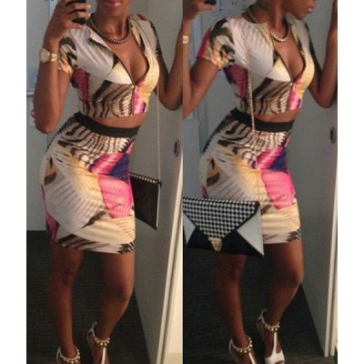 Stylish Round Neck Short Sleeve Printed Blouse + Bodycon Skirt Twinset For Women