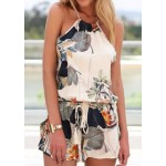 Stylish Round Neck Sleeveless Criss-Cross Printed Romper For Women