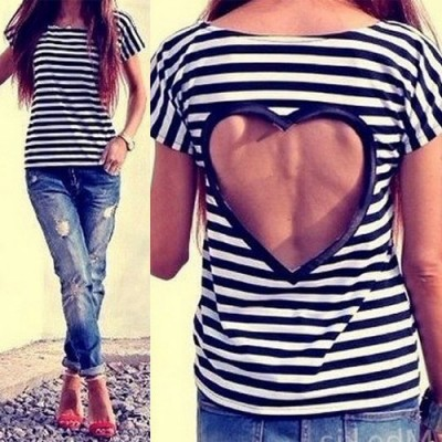Stylish Scoop Collar Short Sleeve Striped Hollow Out T-Shirt For Women