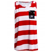 Stylish Scoop Collar Striped Star Print High-Low Hem Tank Top For Women America