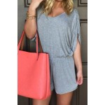 Stylish Scoop Neck Half Sleeve Solid Color Drawstring Romper For Women gray
