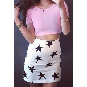 Stylish Scoop Neck Short Sleeve Crop Top + Star Print Bodycon Skirt Twinset For Women white gray pink