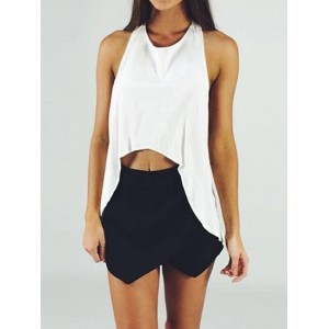 Stylish Scoop Neck Sleeveless Asymmetrical Blouse + High-Waisted Shorts Twinset For Women