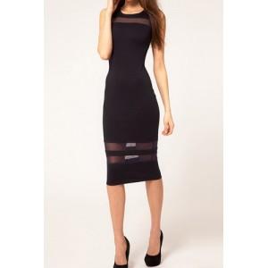 Stylish Scoop Neck Sleeveless Backless Slimming Dress For Women red black