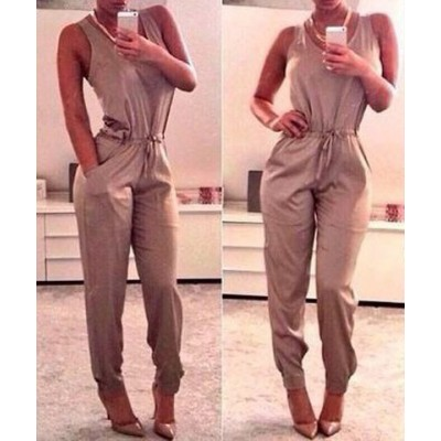 Stylish Scoop Neck Sleeveless Drawstring Solid Color Jumpsuit For Women khaki