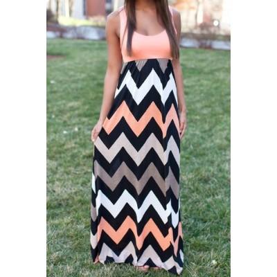 Stylish Scoop Neck Sleeveless Striped Sundress For Women red orange