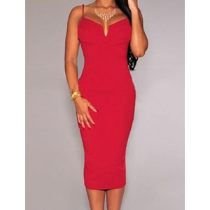 Stylish Spaghetti Strap Sleeveless Solid Color Dress For Women red white black