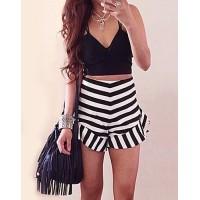 Stylish Spaghetti Strap Tank Top + High-Waisted Striped Shorts Twinset For Women black white
