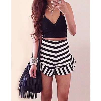 Stylish Spaghetti Strap Tank Top + High-Waisted Striped Shorts Twinset For Women black white