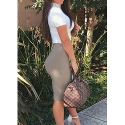 Stylish Turtle Neck Short Sleeve Blouse + High-Waisted Skirt Twinset For Women