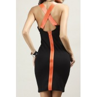 Stylish U Neck Backless Criss-Cross Dress For Women black