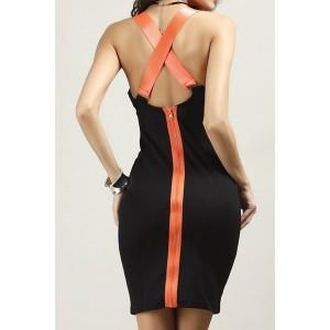 Stylish U Neck Backless Criss-Cross Dress For Women black