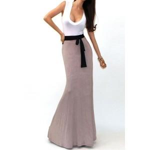 Stylish U Neck Color Block Sleeveless Dress For Women plum black khaki