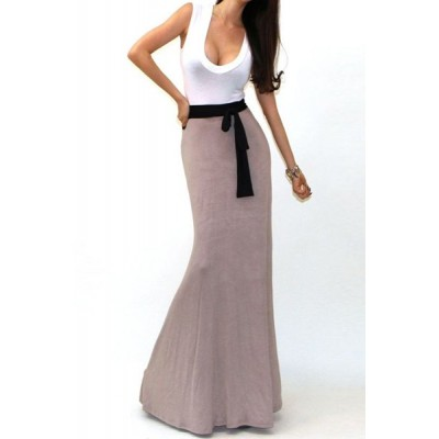 Stylish U Neck Color Block Sleeveless Dress For Women plum black khaki