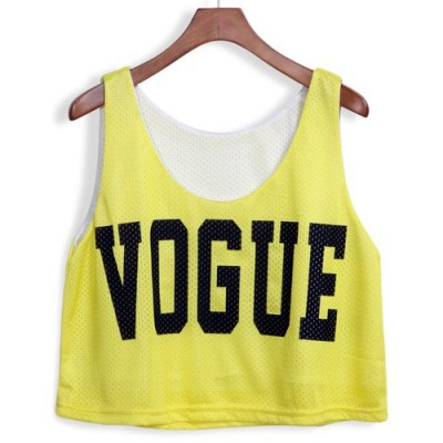 Stylish U Neck Loose-Fitting Letter Print Tank Top For Women yellow