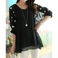 Stylish V-Neck 3/4 Sleeve Polka Dot Loose-Fitting Chiffon Blouse For Women black plum