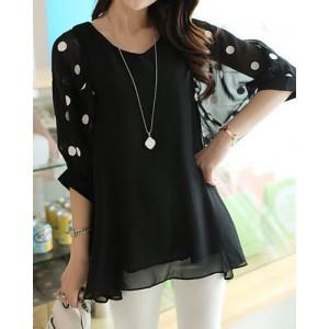 Stylish V-Neck 3/4 Sleeve Polka Dot Loose-Fitting Chiffon Blouse For Women black plum