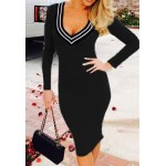 Stylish V-Neck Long Sleeve Slimming Spliced Dress For Women blue black