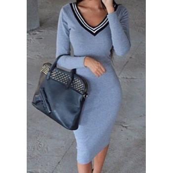 Stylish V-Neck Long Sleeve Slimming Spliced Dress For Women blue black
