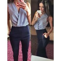 Stylish V-Neck Sleeveless Spliced Jumpsuit For Women