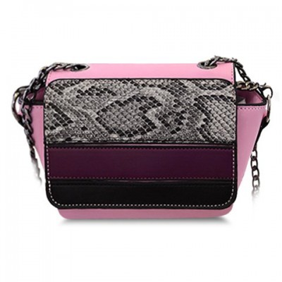 Stylish Women's Crossbody Bag With Snake Print and Chain Design pink cream green