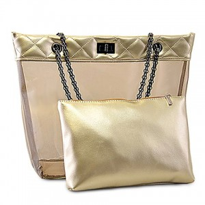 Stylish Women's Shoulder Bag With Transparent and Checked Design black gold silver