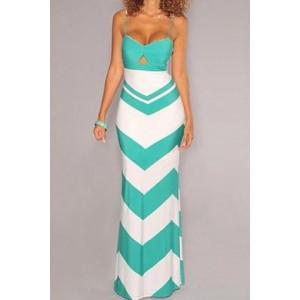 Stylish Women's Spaghetti Strap Hollow Out Zigzag Dress blue