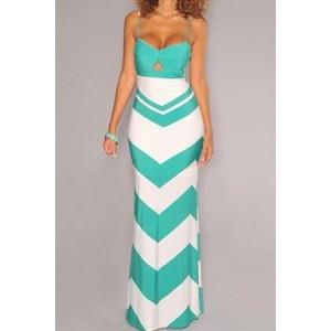 Stylish Women's Spaghetti Strap Hollow Out Zigzag Dress blue