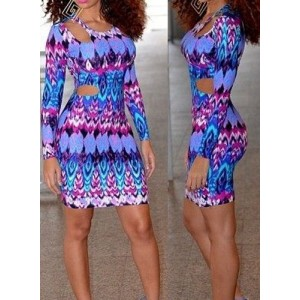 Trendy Scoop Neck Hollow Out Long Sleeve Print Dress For Women blue