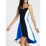 Trendy Spaghetti Strap Color Block High Low Dress For Women blue and black