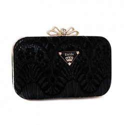 Trendy Women's Evening Bag With Chain and Lace Design black white yellow