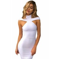 Triangle Cutout Bandage Dress White Black Red