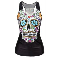 U-Neck Floral Skull Print Sleeveless Stylish Tank Top For Women black