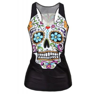U-Neck Floral Skull Print Sleeveless Stylish Tank Top For Women black