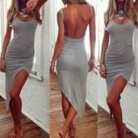 U-Neck Sleeveless Backless Slit Sexy Dress For Women gray