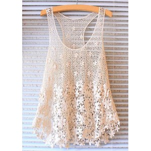 U-Neck Sleeveless Solid Color Hollow Out Sweet Lace Tank Top For Women white
