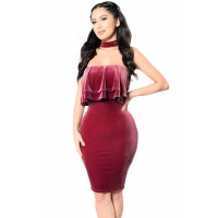 Velvet Off Shoulder Choker Neck Midi Dress Burgundy Red Green