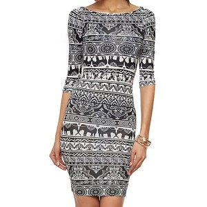 Vintage Round Neck Half Sleeve Printed Bodycon Dress For Women