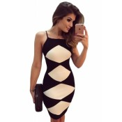 White Diamond Patchwork Black Cami Dress