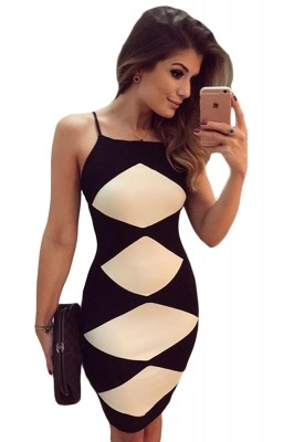 White Diamond Patchwork Black Cami Dress